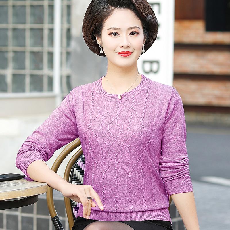 中老年人女装秋冬装针织衫上衣妈妈长袖打底衫40岁50中年加厚毛衣