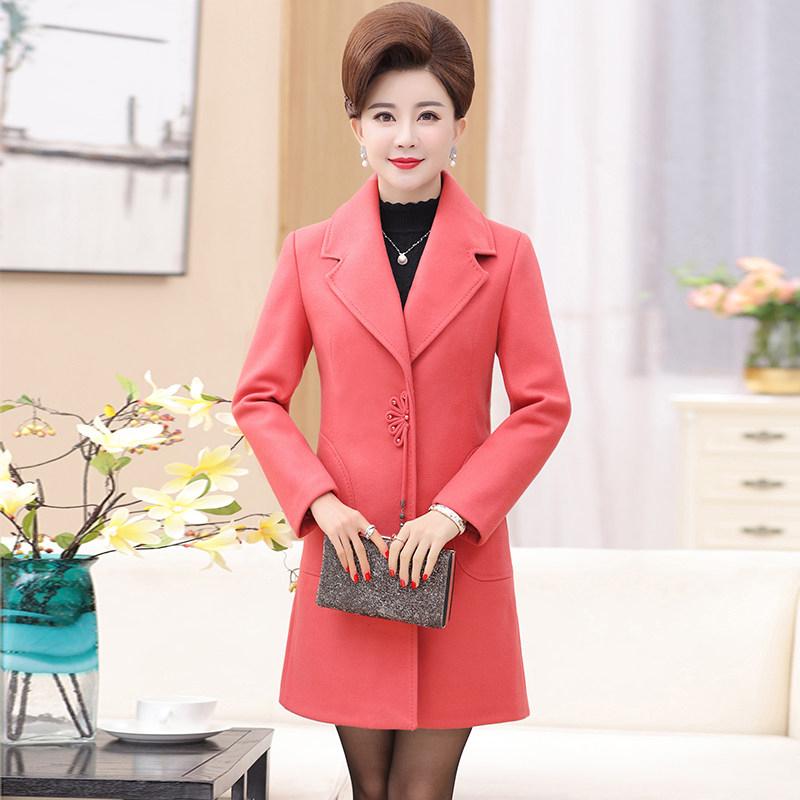中老年女装秋冬装新款大衣50-60岁妈妈装中长款秋装毛呢外套