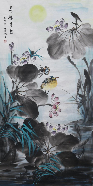 水墨国画荷花纯手绘写意花鸟画荷花四尺整张支持私人定制代画作品