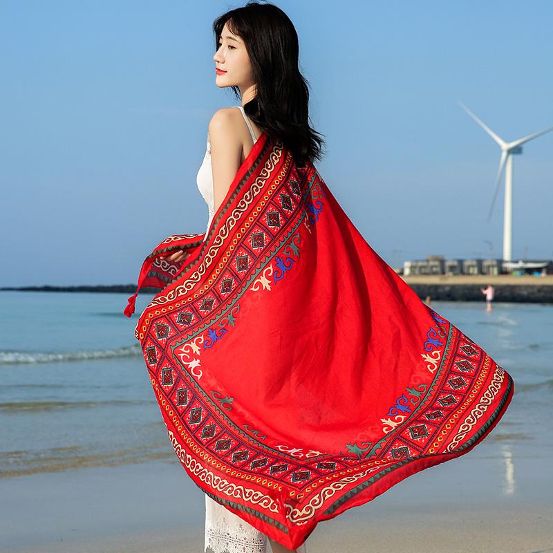 防晒丝巾女夏季外搭披肩百搭围巾超大纱巾海边薄款轻薄沙滩巾夏天