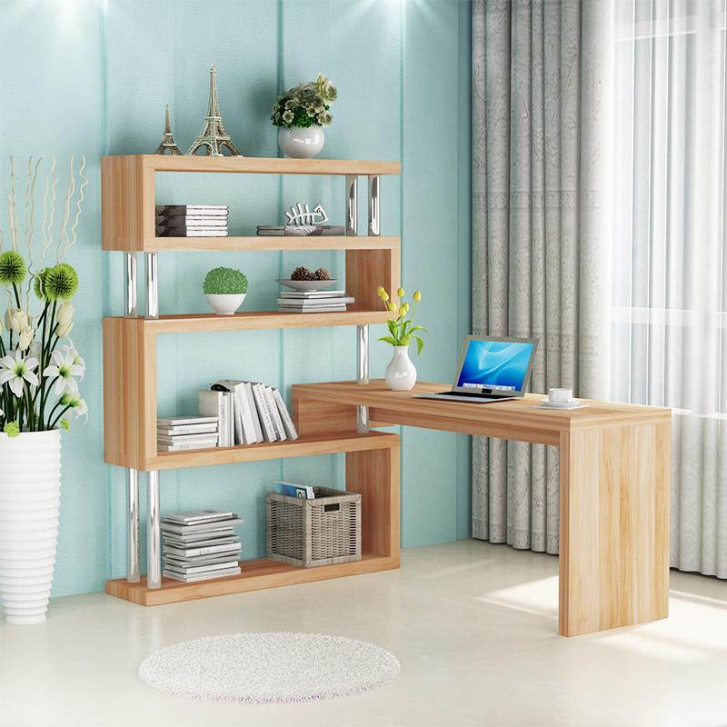 旋转电脑台式桌家用卧室桌子简约书柜一体转角书桌书架组合写字桌