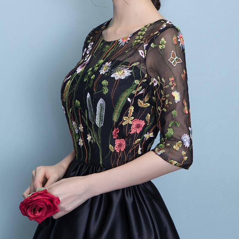 晚礼服2019新款冬季中袖短款宴会晚会年会小礼服显瘦黑色礼服裙女