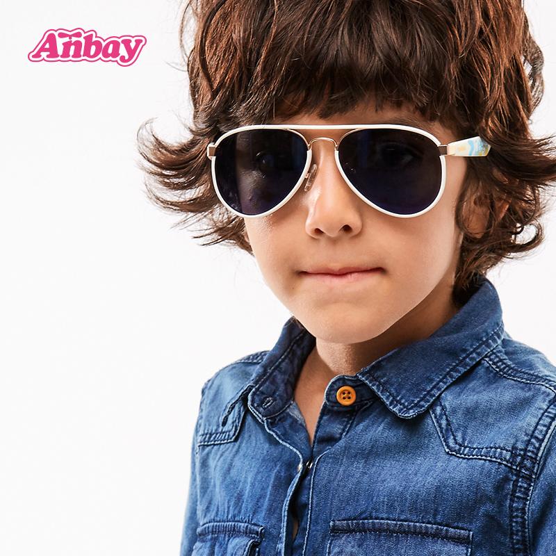 安比 男童太阳镜偏光儿童防紫外线蛤蟆镜潮小孩眼镜舒适 宝宝墨镜
