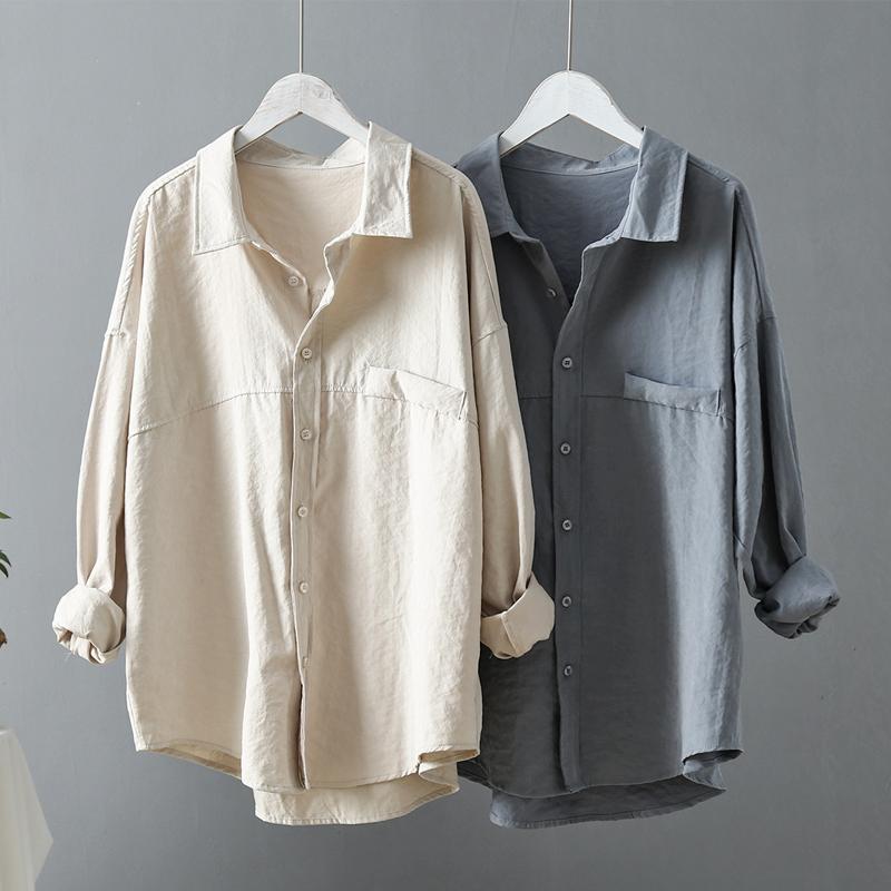 2021新款外穿衬衫女春秋复古港风上衣韩版宽松设计感小众衬衣外套