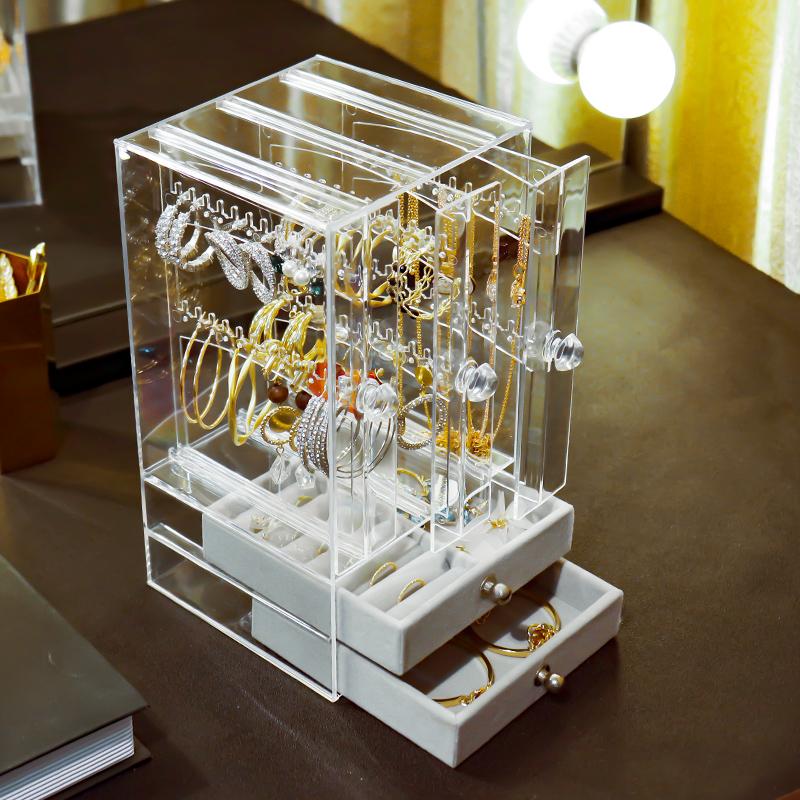 公主耳环收纳盒首饰盒防尘耳钉耳夹挂饰品展示架项链珠宝整理盒子