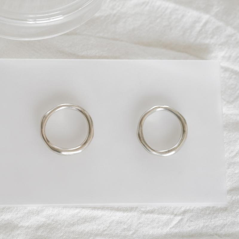 号 17 15 银简单极简独立设计原创首饰 925 流动光圈戒指 DWARF WHITE