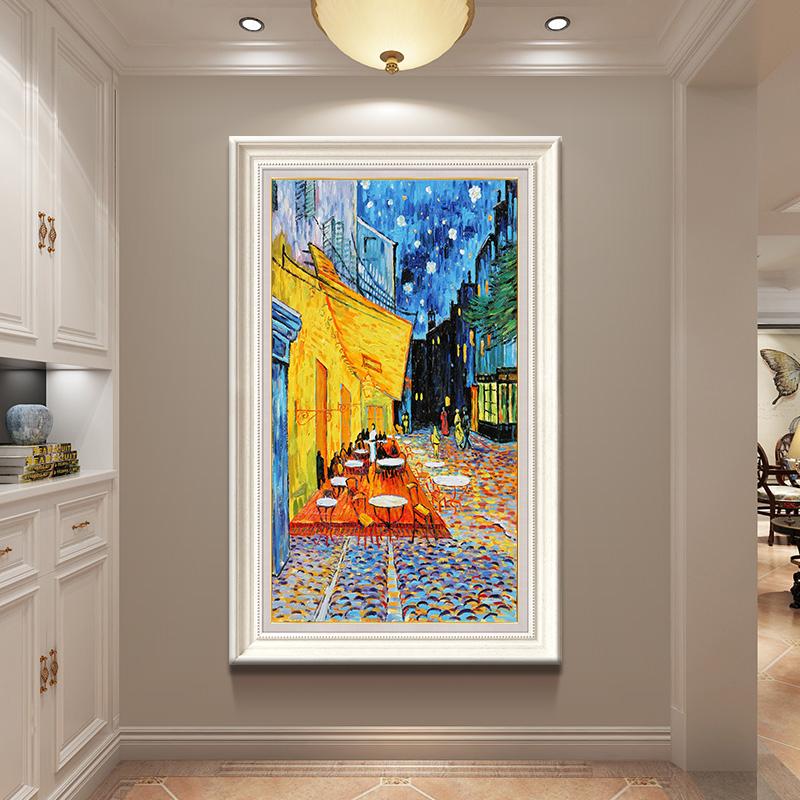 梵高油畫咖啡館世界名畫臨摹手繪裝飾畫歐式沒事玄關走廊豎版掛畫