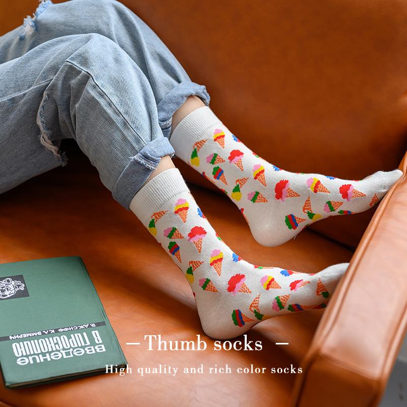 happy小熊新款潮牌袜子男女泰迪熊可爱学院风潮流中筒棉袜子Socks No.3