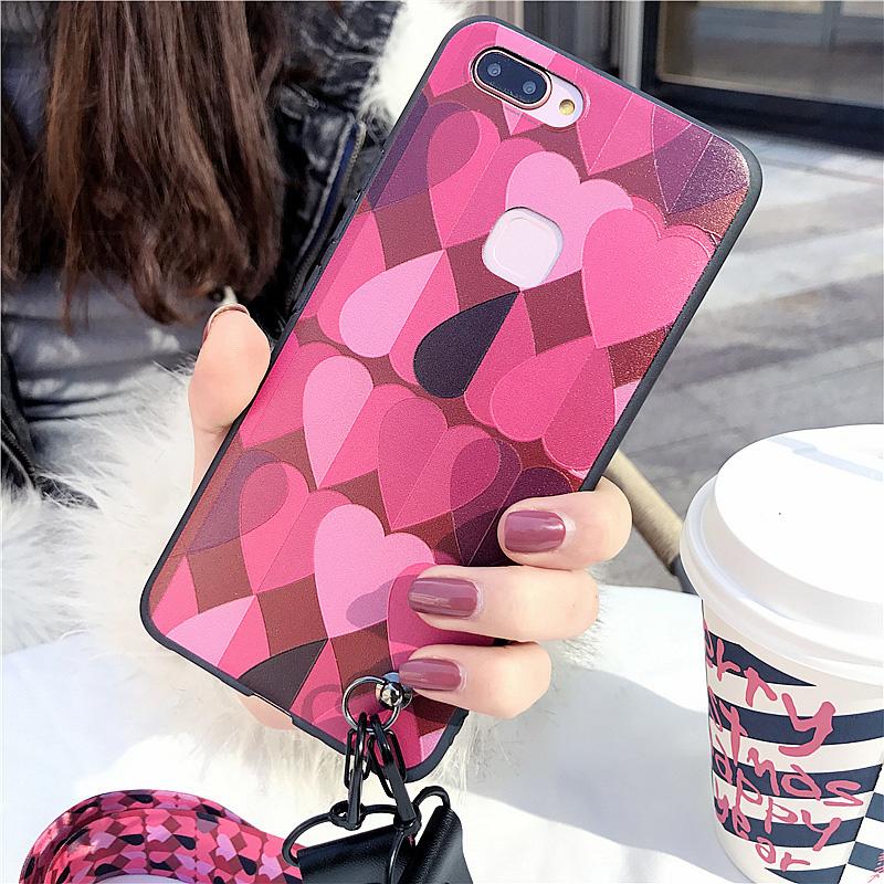 日韩少女款爱心vivo X20手机壳软胶保护套X20plus送带挂绳硅胶套X20plus手机套X20手机壳全包边创意个性潮流