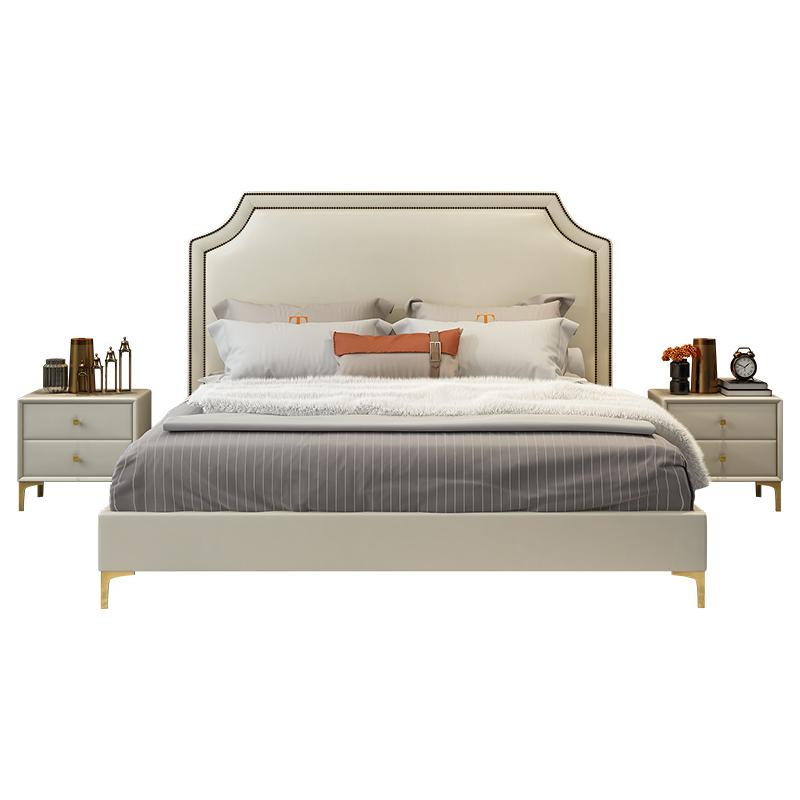 網紅床 ins 米雙人主臥 1.8 后現代輕奢風格床少女簡約樣板間 真皮床