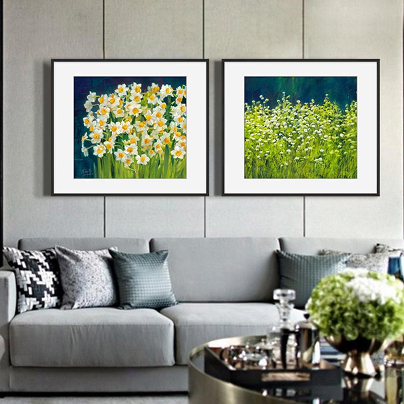 橙舍 现代简约客厅装饰画北欧玄关床头挂画植物花卉油画-水仙花
