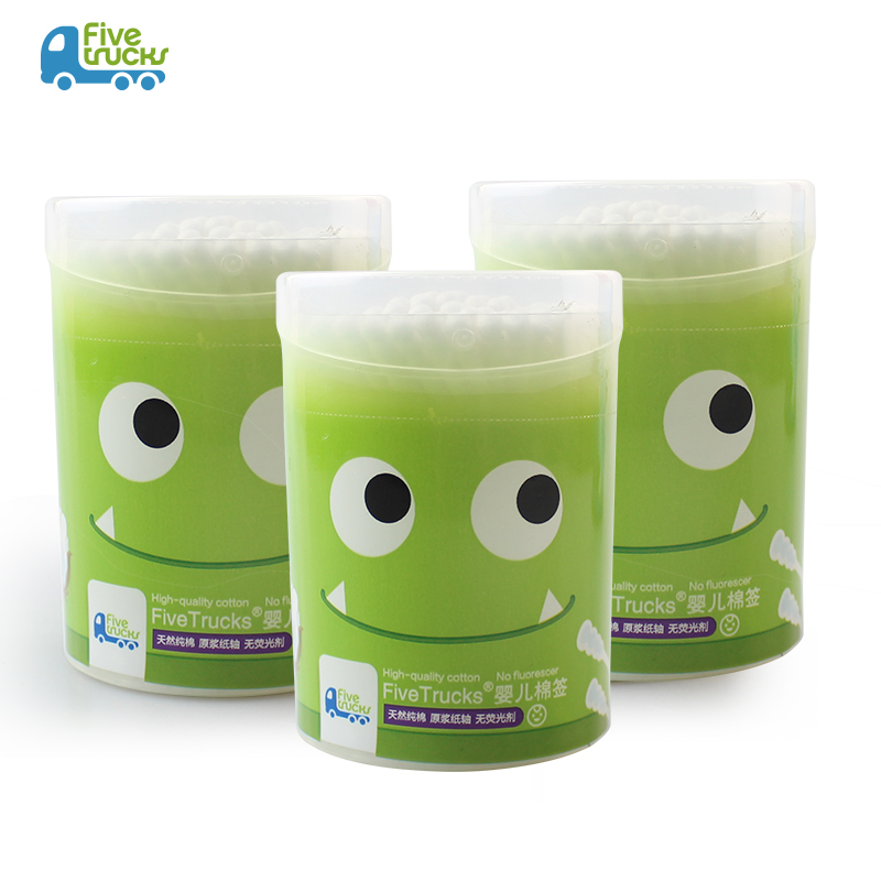 【天天特价】五个小卡车婴儿专用棉签宝宝棉棒耳孔清洁棉卸妆棉签
