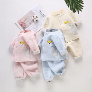 嬰兒保暖衣套裝純棉秋冬男女寶寶內衣加厚衣服夾棉兒童睡衣0-1歲2