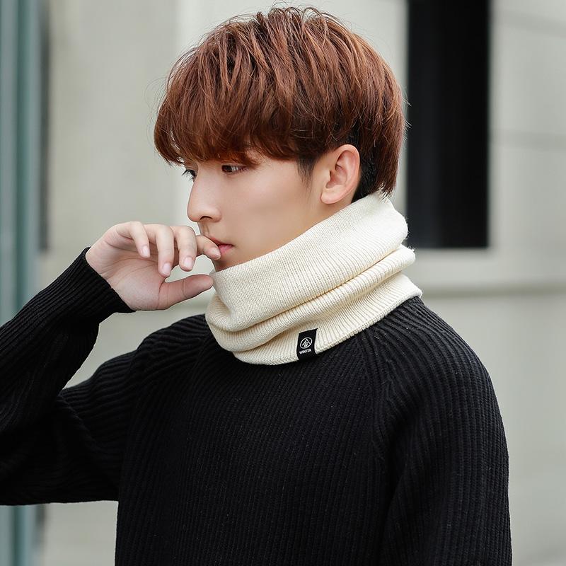 围脖套男士潮护颈椎保暖套头针织围巾秋冬季骑行毛线防风加绒加厚