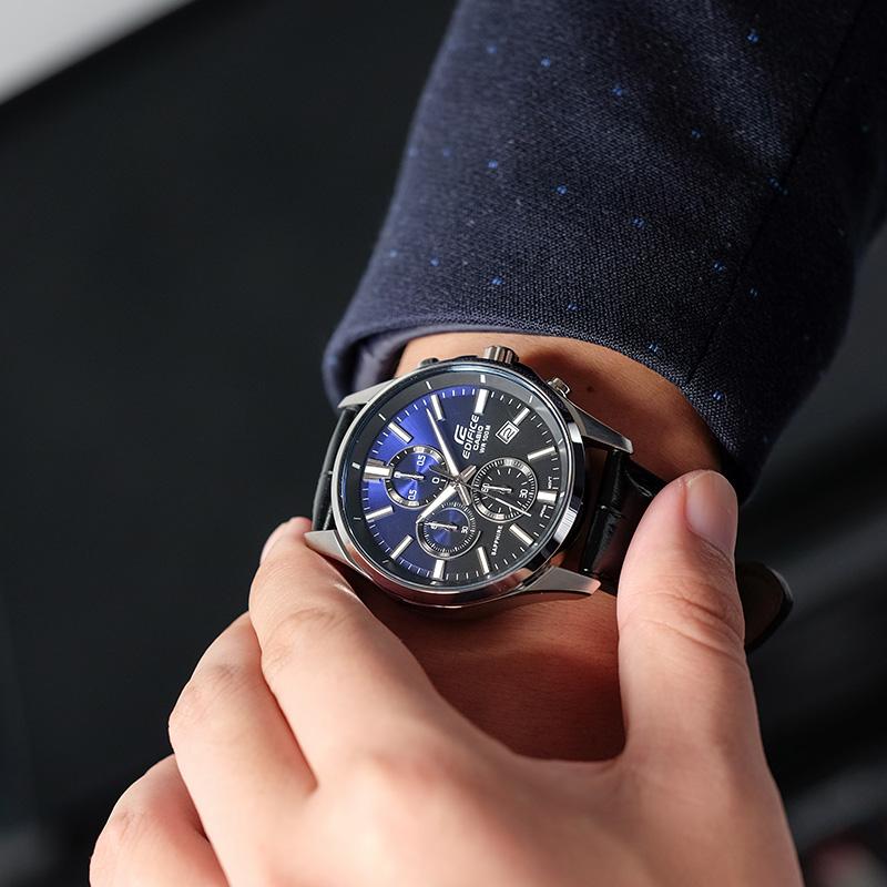EFB 530L 卡西欧手表男蓝宝石男士手表商务防水钢皮带石英男表正品