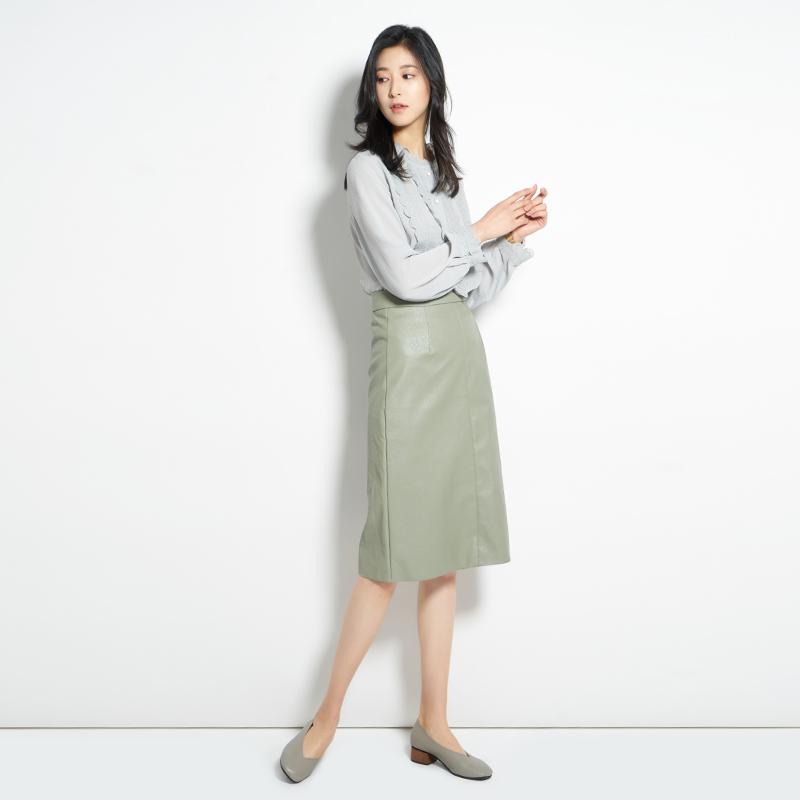 阿cir绿色小皮裙女高腰2020夏季新款韩版中长款显瘦包臀a字半身裙主图