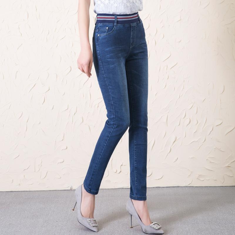 新款松紧腰牛仔裤女式大码高腰弹力秋季显瘦小脚裤子女装长裤 2018