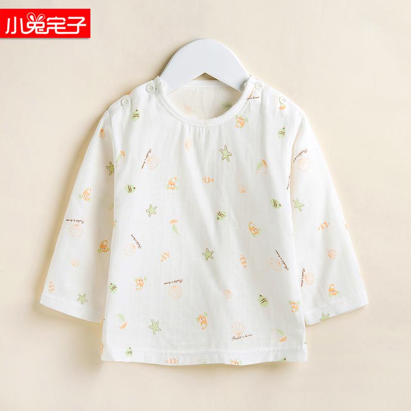 小兔宅子宝宝春夏薄款纱布肩扣长袖内衣上衣婴儿全棉空调服睡衣