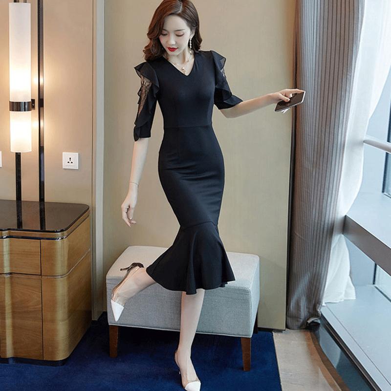 修身显瘦包臀连衣裙夏装2021新款名媛气质女神范v领鱼尾裙子黑色