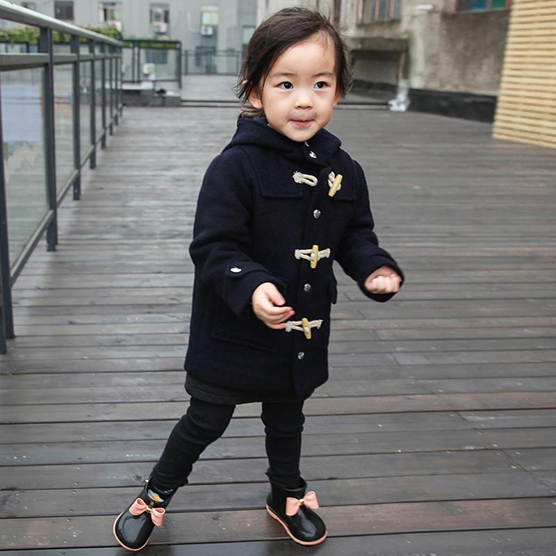 冬装新品男童女童牛角扣双面呢子大衣全羊毛上衣连帽外套