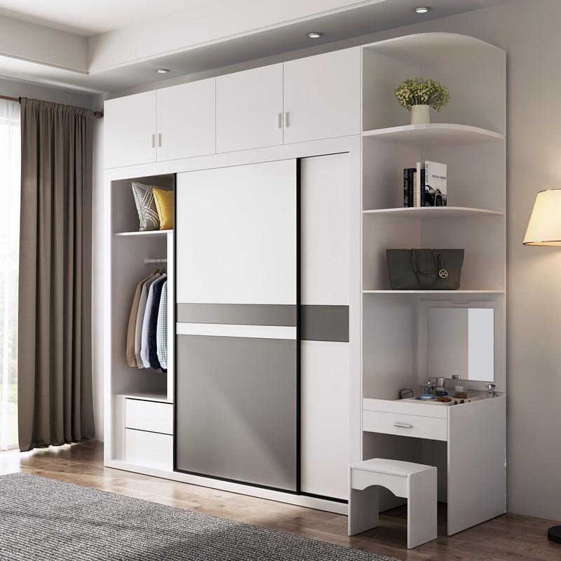 北欧推拉门衣柜现代简约实木组装卧室柜子经济型玻璃趟滑门大衣橱