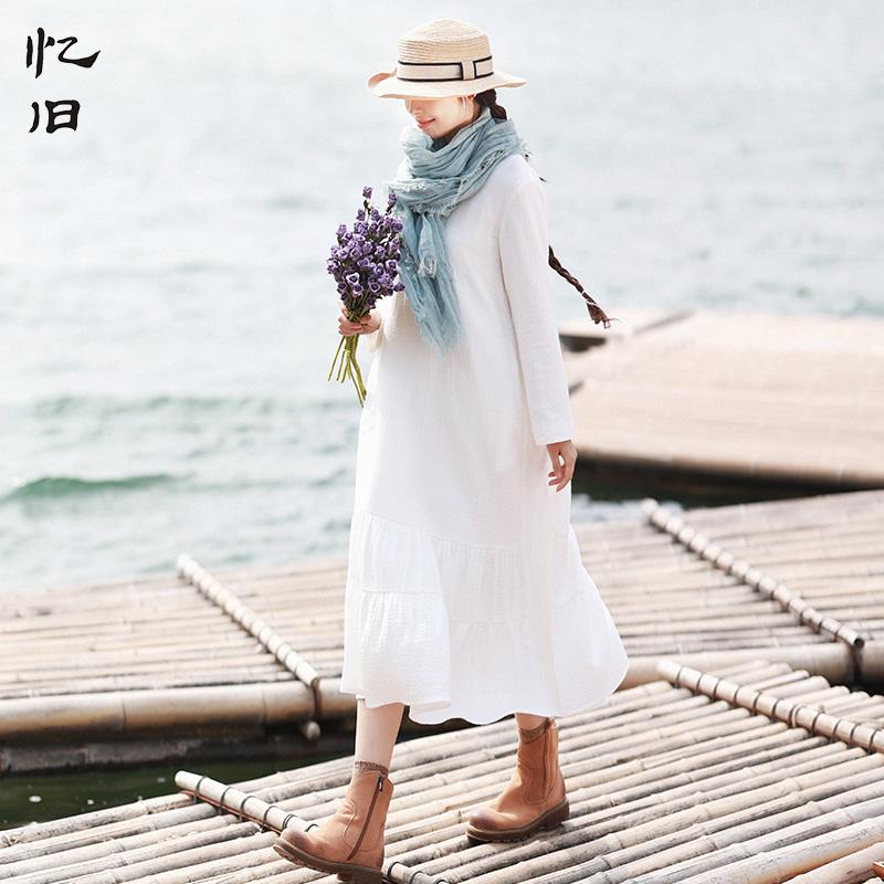 忆旧秋装白色连衣裙女长袖2021年新款纯棉内搭长裙打底裙子女早秋