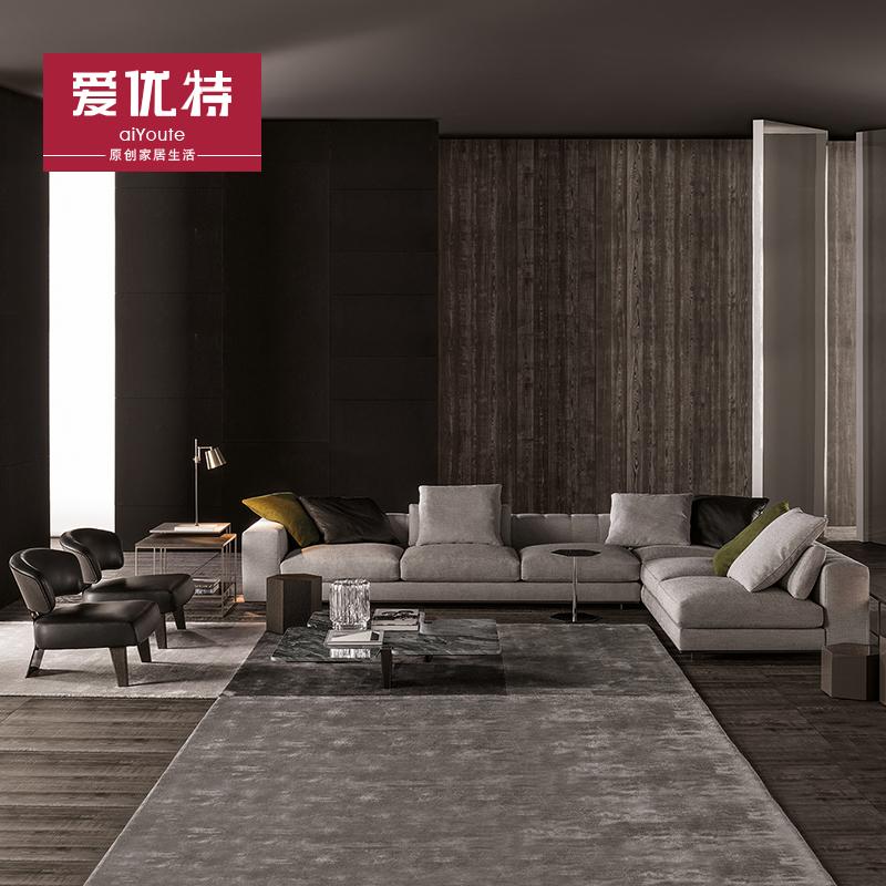 北欧现代简约羽绒棉麻布艺创意沙发 皮布沙发组合