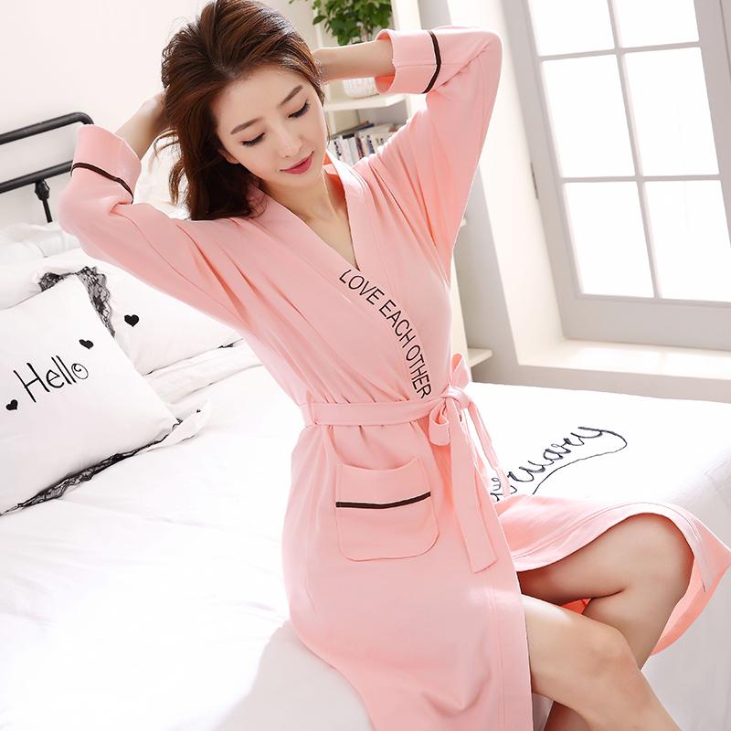女士韩版睡衣睡袍女春秋纯棉长款可爱长袖浴袍薄款全棉居家服浴衣