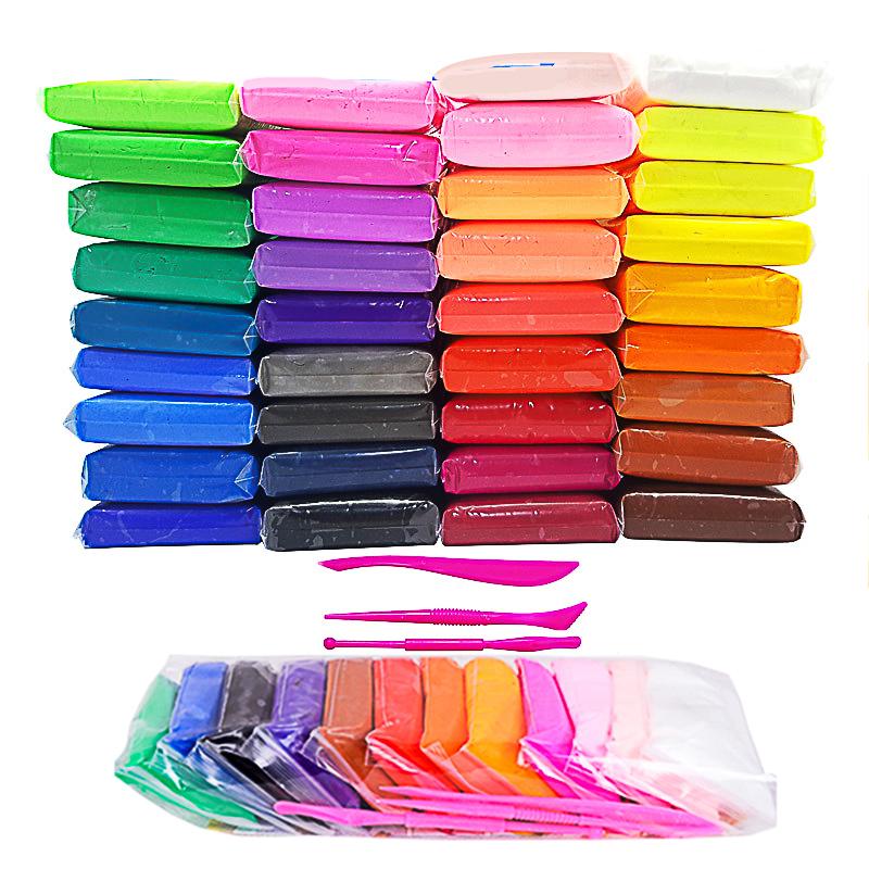 36色24超轻粘土套装袋装工具无毒彩泥太空黏土橡皮泥手工泥巴捏土