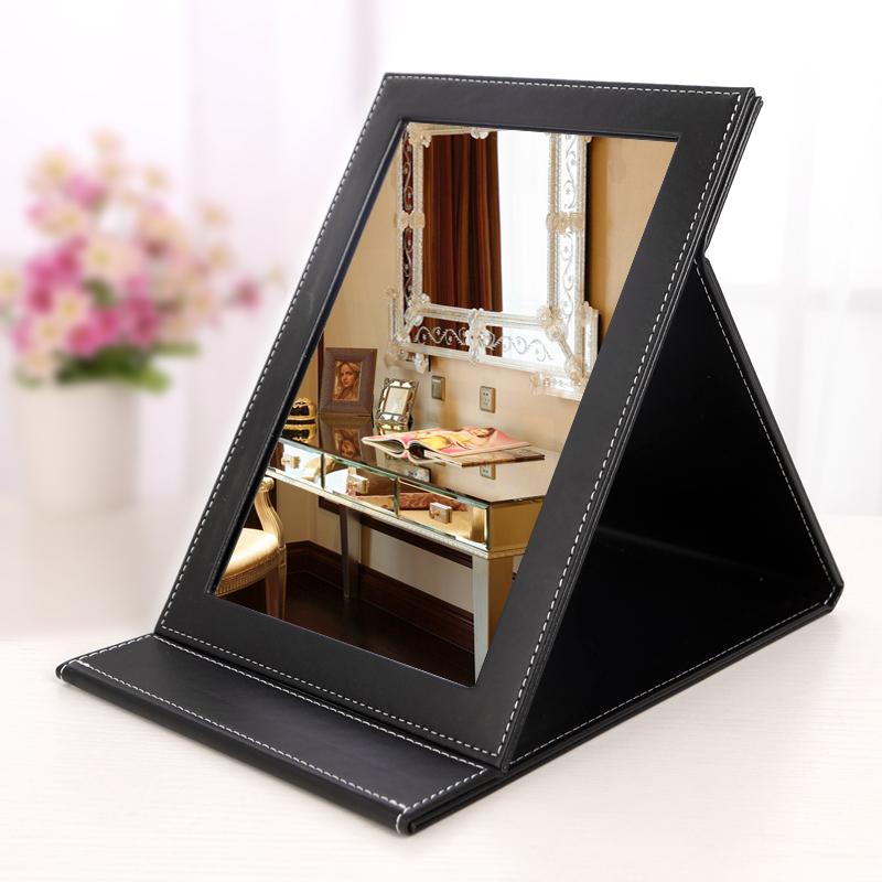 镜子折叠化妆镜大号台式梳妆镜高清便携镜子小书桌宿舍PU皮随身镜