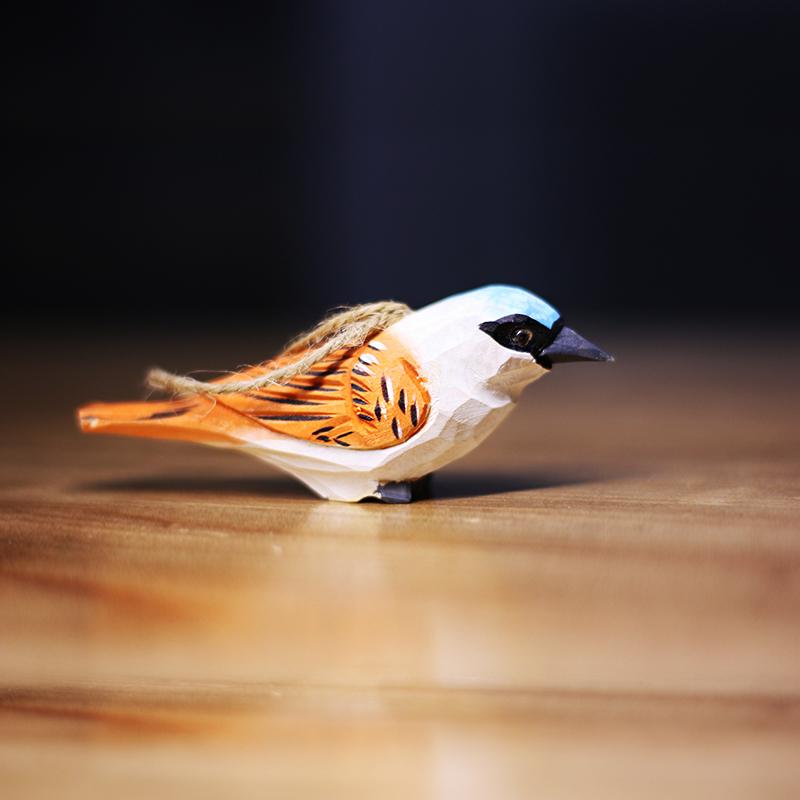 鸟类手工实木雕塑 动物木雕 小鸟挂件 小鸟木雕 三件包邮鹿妖商店