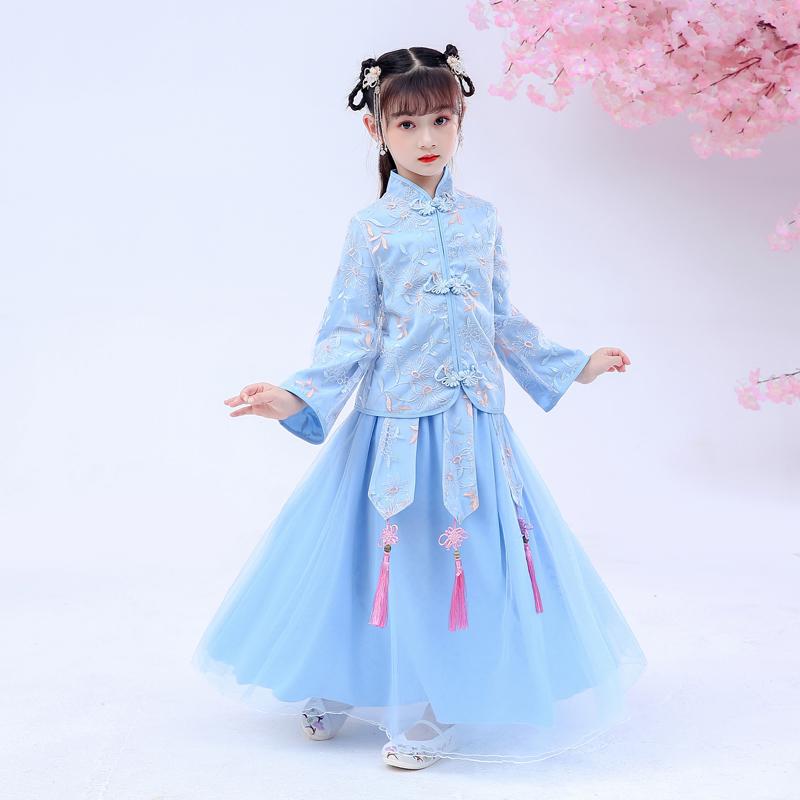 【送发饰】汉服女童古装连衣裙套装