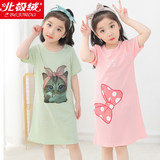 Beiji Rong cotton nightdress girl girls pajamas short-sleeved dress girl princess big virgin baby clothes at home