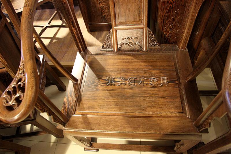 集美红红木家具非洲鸡翅木皇宫椅三件套红木圈椅实木围椅情人台