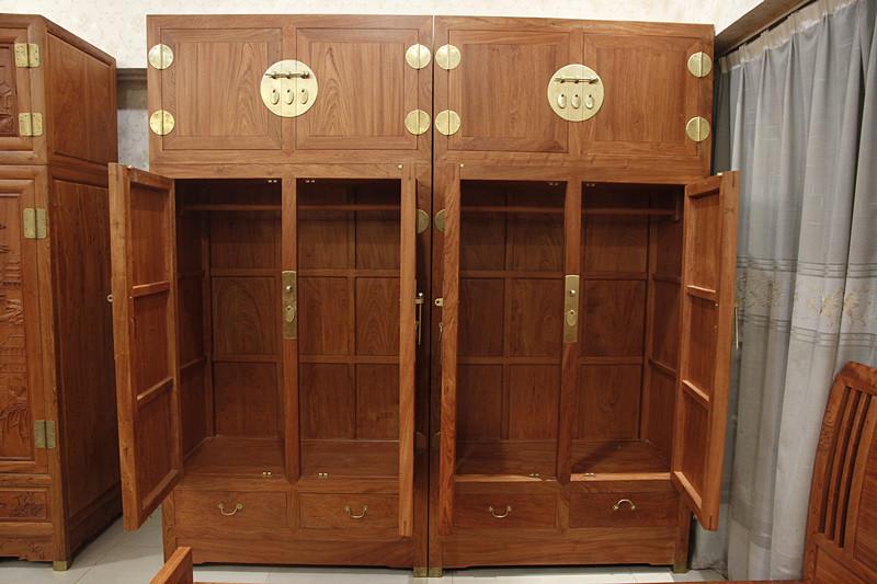 红木家具东非香花梨顶箱柜全实木衣橱素面顶箱柜中式卧室四门衣柜
