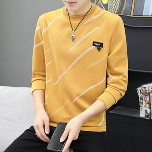春秋季长袖T恤薄男青少年上衣打底衫学生短袖韩版修身加绒加厚暖
