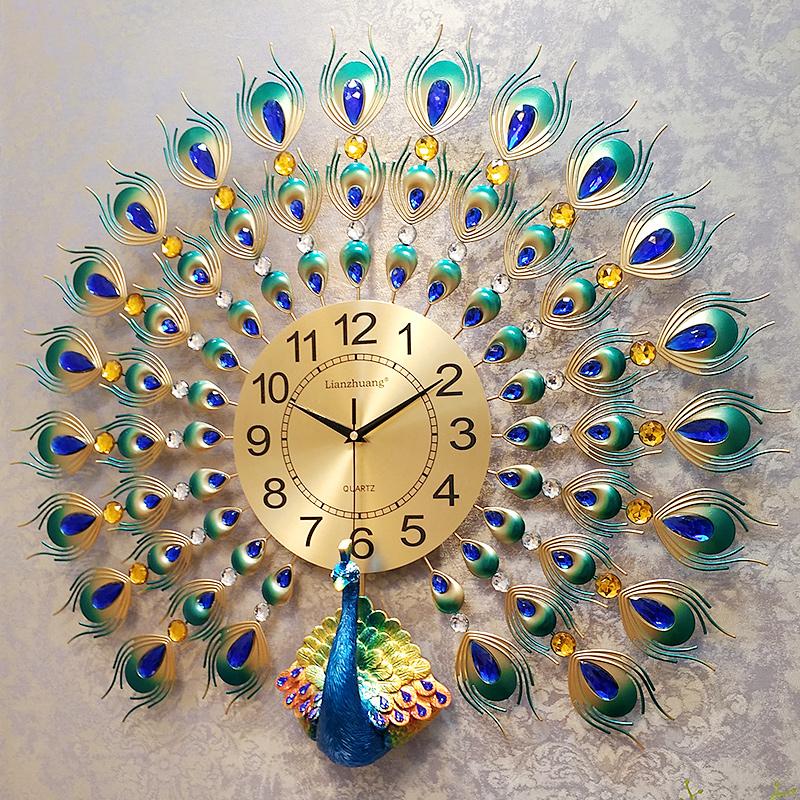 孔雀钟表挂钟客厅现代简约大气创意欧式时钟家用装饰挂表石英钟