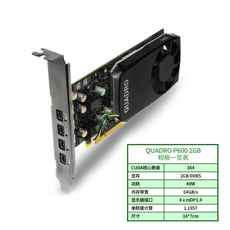 丽台Quadro P600 2GB专业图形平面美工绘图显卡