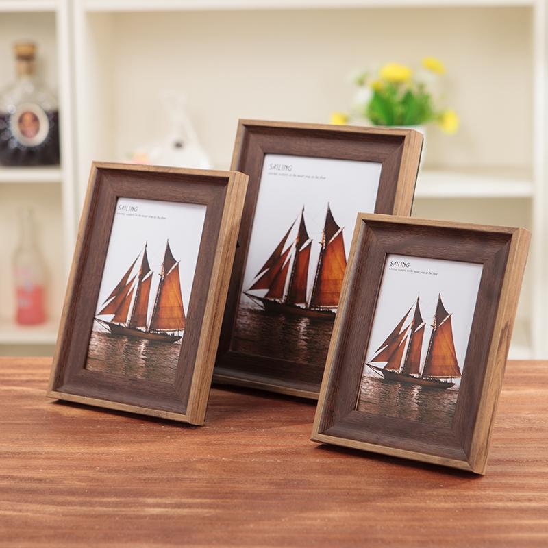 创意美式相框摆台4 5 6 7 8 10 A4寸 照片框挂墙情侣儿童木纹像框