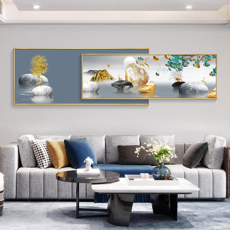 新中式客厅装饰画沙发背景墙现代简约轻奢晶瓷画墙上装饰创意挂画