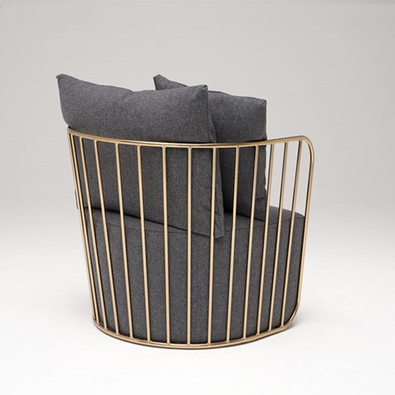 金属布艺懒人沙发椅  客厅卧室休闲创意简约小户型金色  铁艺沙发