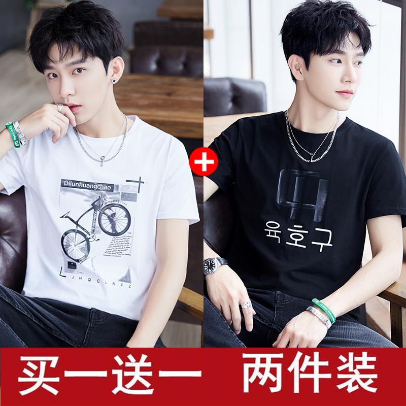 新款青年半袖体恤韩版学生打底衫潮上衣服男 2019 恤夏季 t 男士短袖