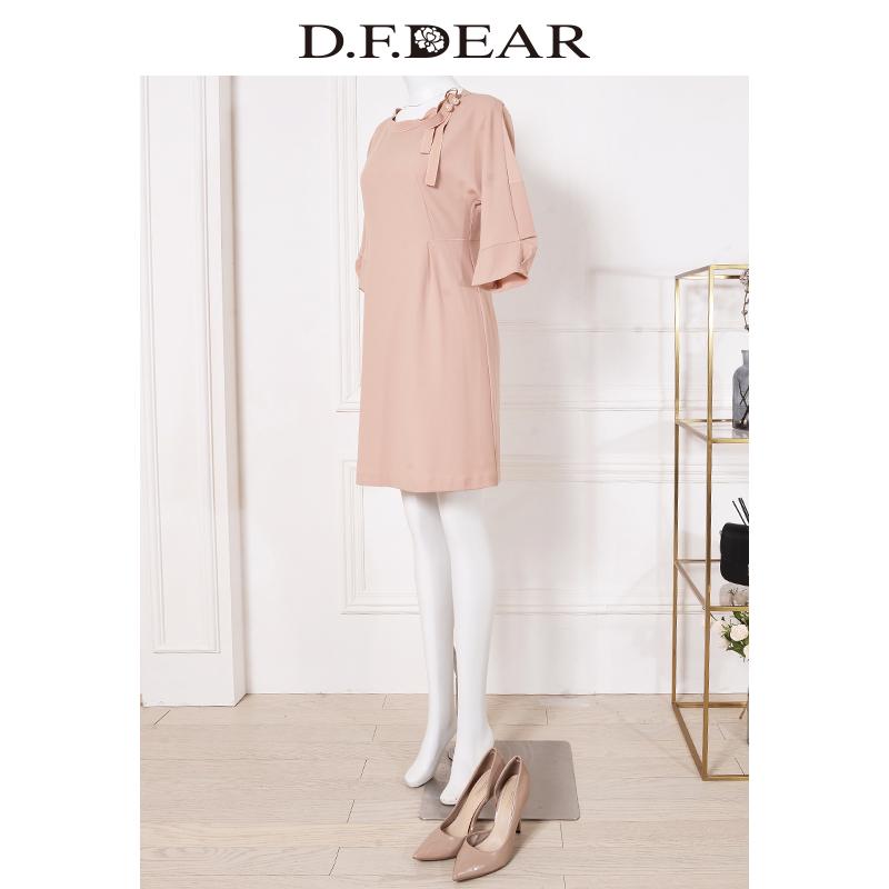 色中色����z)�h�_f.dear/德菲蒂奥2018夏季新款淑女粉红色中长款连衣裙修身显瘦