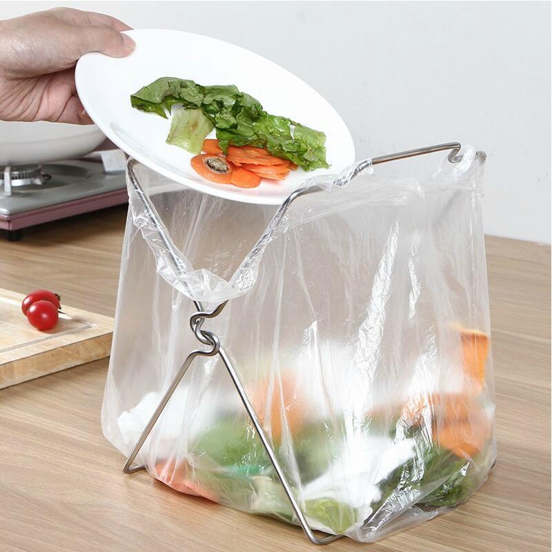不鏽鋼垃圾架抹布架可摺疊廚房收納架塑料袋架子手提袋垃圾桶支架