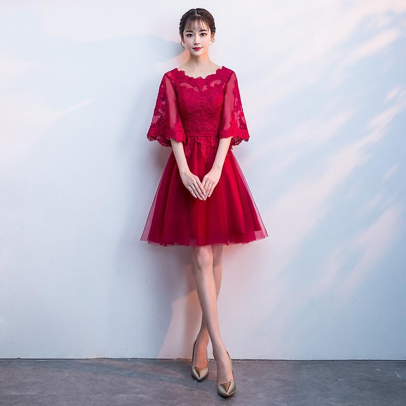 敬酒服新娘2019夏款结婚宴会气质大码胖mm红色小礼服裙女显瘦长款