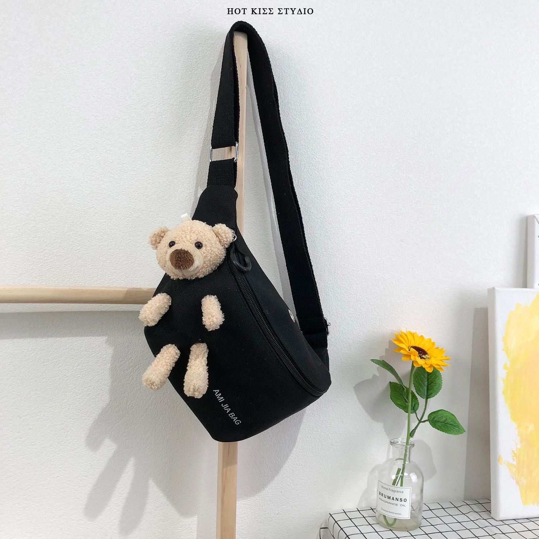 日系学生百搭ins斜挎帆布胸包女2020新款潮网红流行可爱小熊腰包