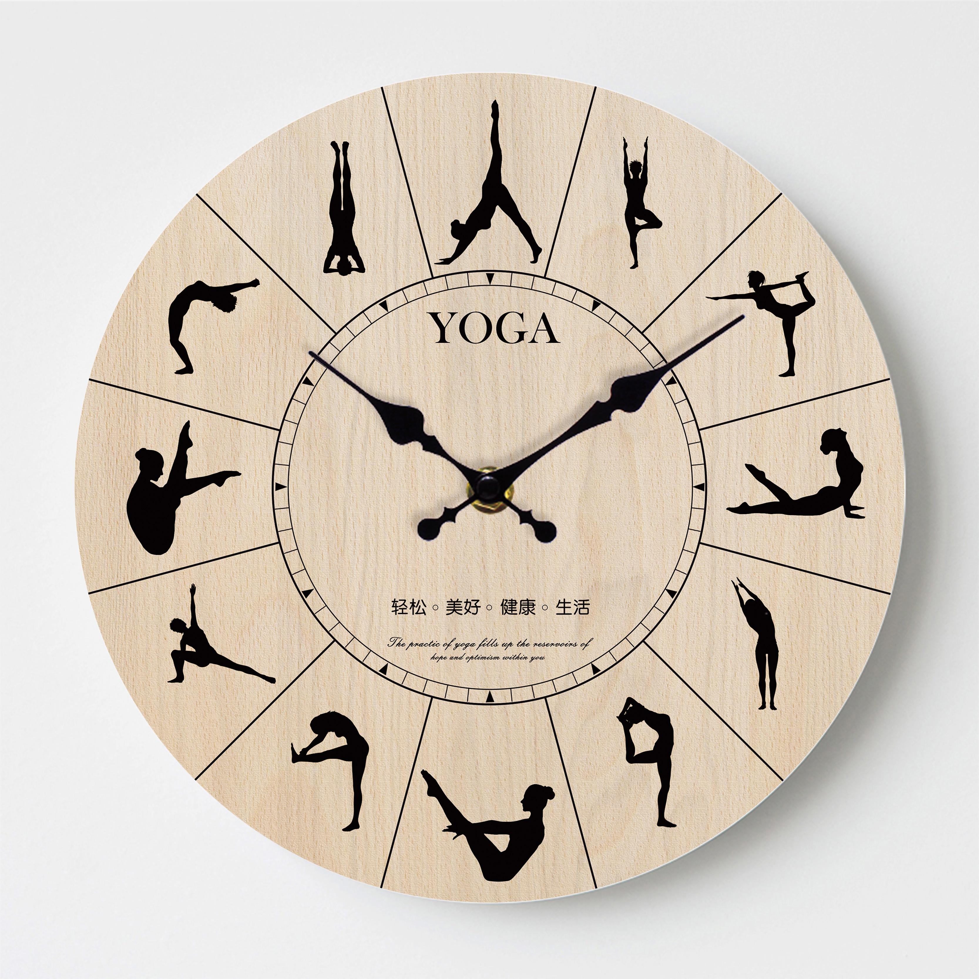 原创瑜伽馆教室舞蹈时钟北欧客厅简约静音创意挂钟健身房装饰钟表