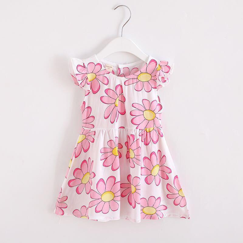 夏季舒适儿童飞袖碎花连衣裙 女童淑女柠檬印花背心裙无袖连衣裙