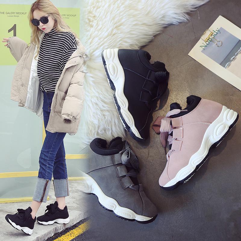 bf运动鞋女韩版ulzzang冬季加绒原宿百搭日系小清新街拍款休闲鞋
