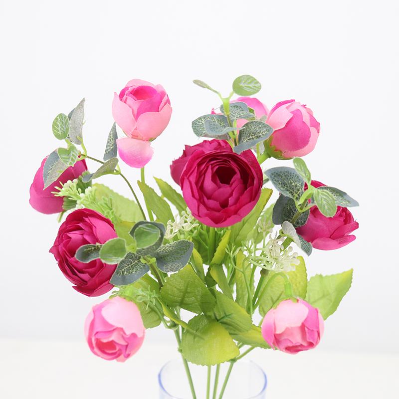 單支假花仿真花束塑料花客廳小把束布藝裝飾花插花卉干花絹花熱賣